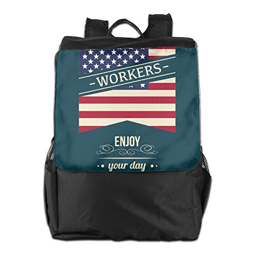 HSVCUY Personalized Outdoors Backpack,Travel/Camping/School-Happy Labour Day Enjoy Your Day Adjustable Shoulder Strap Storage Dayback For Women And Men