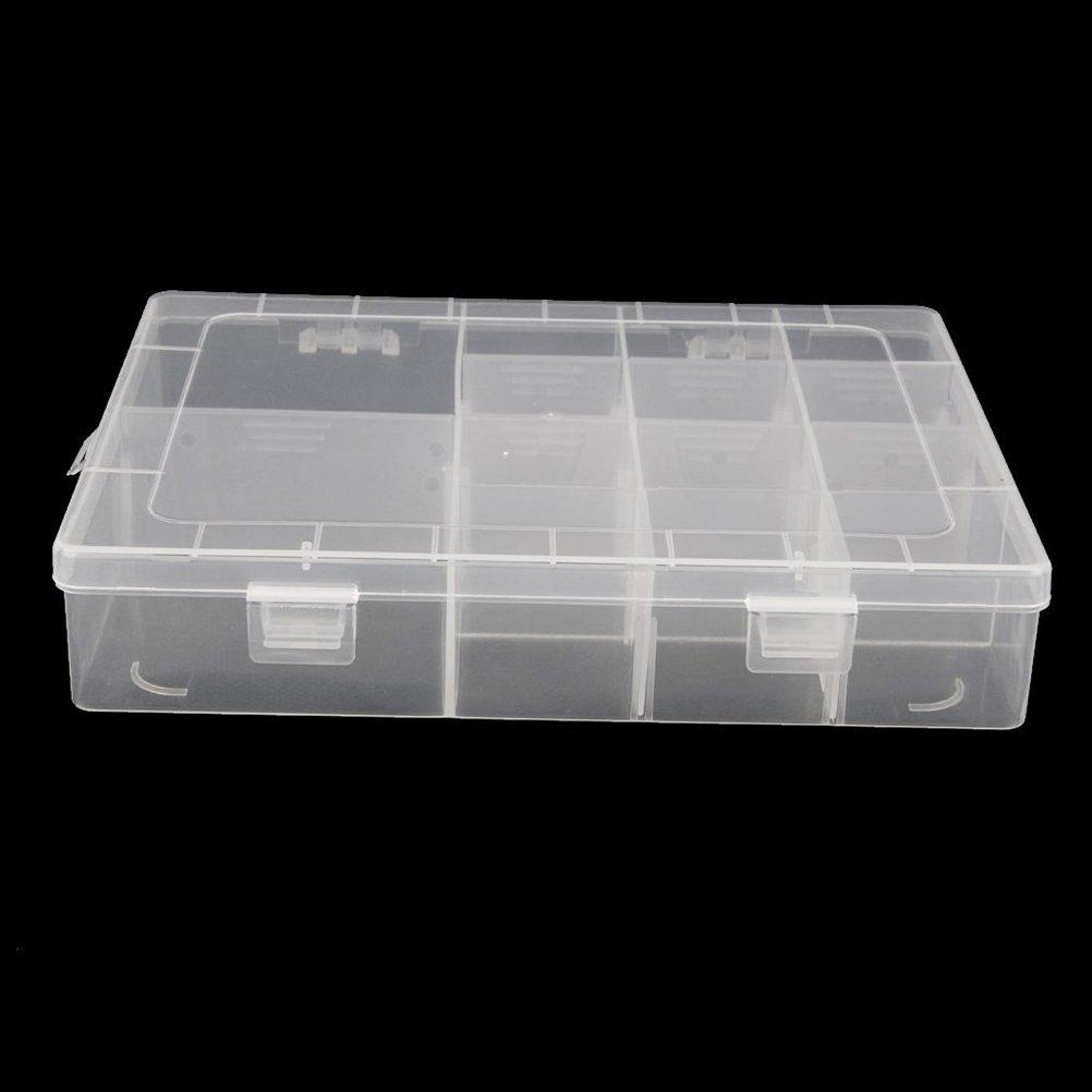 Transparent Tinksky 14-Grille en Plastique R/églable Bijoux Organisateur Bo/îte Stockage Conteneur Caisse Avec S/éparateurs Amovibles