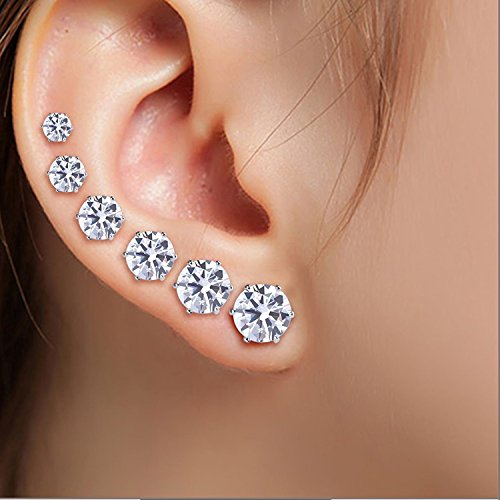 Women's Girl's Stainless Steel Round Clear AAA Cubic Zirconia Stud Earrings (6 Pairs)