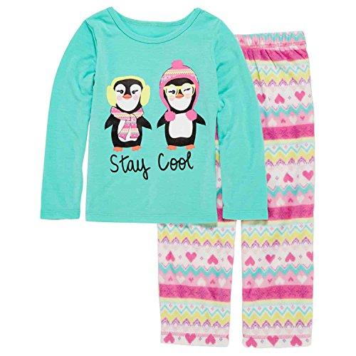 Toddler & Girls Stay Cool Penguin Pajama 2 Piece Nordic Sleep Set 4 Green