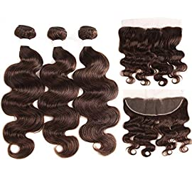 99J/Burgundy Human Hair Weave Bundles 3PCS With Lace Frontal Closure The rest of my life Brazilian Body Wave Non-Remy Hair Weft Extensions,20 20 20+20Closure,#4,Free Part