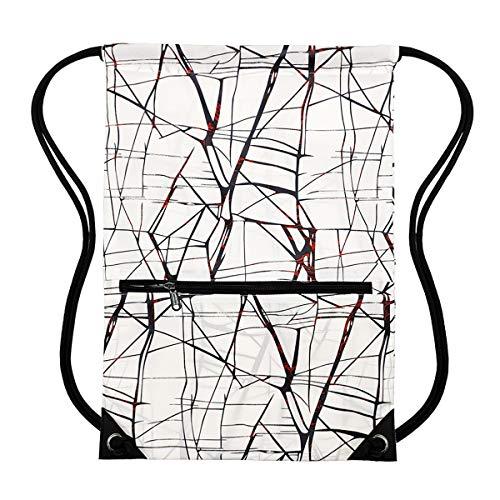 HOLYLUCK Men & Women Sport Gym Sack Drawstring Backpack Bag (White, Purple, Burgundy,Black,Navy Blue,Red,Blue) (Metallic White)
