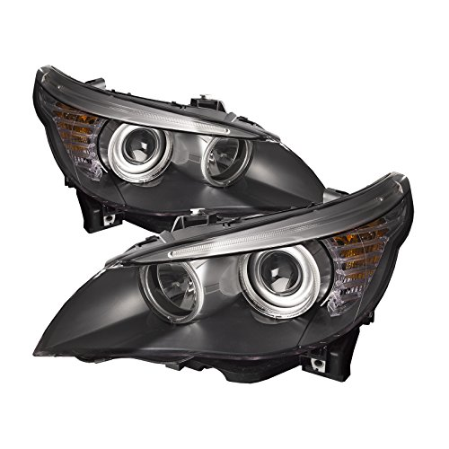 HEADLIGHTSDEPOT Black Housing Halogen Headlights Compatible with BMW 528i 535i 550i Includes Left Driver and Right Passenger Side Headlamps