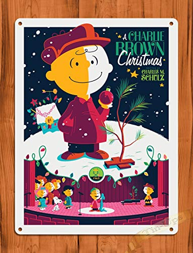 (Tin Sign a Charlie Brown Christmas Purple Art Painting Movie Poster Peanuts TIN Sign 7.8X11.8 INCH)