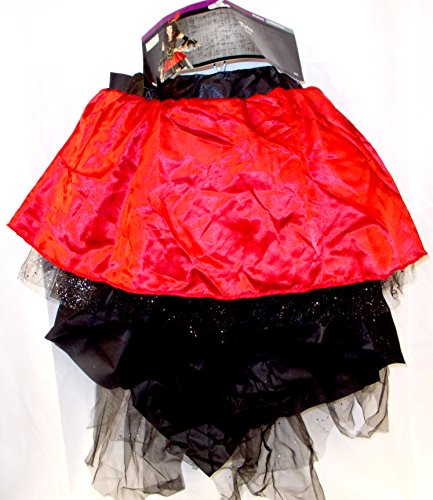 Tutu Red Black Satin Tulle Glitter Skirt Adult Womens Costume L/P NIP