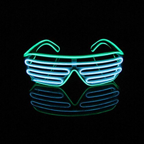 EL Glasses El Wire LED Light Up Shutter Funny Amazing Cool Glasses Eyeglasses Eyewear for Christmas Halloween Wild Party,Dance Ball,Crazy Parties (Crazy Eyes For Halloween)
