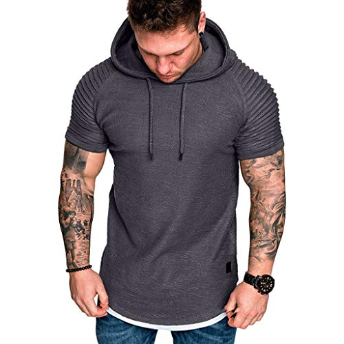 URIBAKE ⭐️ Men's Short Sleeve Hoodies Solid Slim Fit Daily Casual Drape Hoodie Top T-Shirts Gray