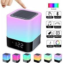Alarm Clock Bluetooth Speaker,Night Light Bluetooth Speaker,Color Changing Speaker,Touch Sensor Bedside Lamp Dimmable Warm Light,Night Light Wireless Speaker,Ideal for Kids,Party,Bedroom,Camping