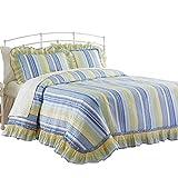 Westport Stripe Plisse Bedspread, Blue, Queen, Machine Washable