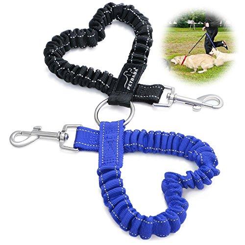 Hundeleine Doppelleine, PETBABA 40cm Lang Elastisch Reflektierend Verstellbar Nylon Training Hunde Leine für 2 Hunde Blau