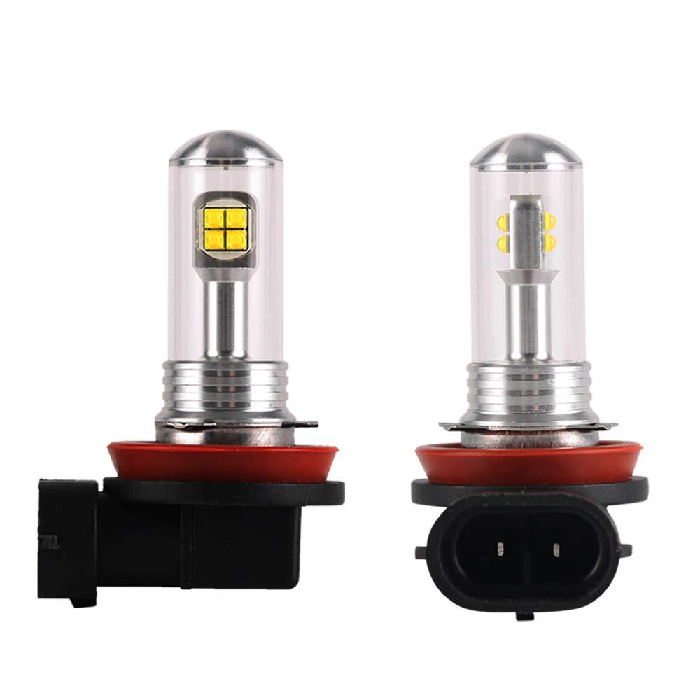 NIGHTEYE H8 H9 H16 LED Bulb Extremely Bright 80W 3,000 Lumens with 8 LEDs CREE LED Chips for DRL or Fog Light 6000K Xenon White H11 LED Fog Light Bulbs Conversion Kit