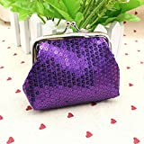 Purses Kids Wallet Mini Sequin Wallets Small Womens Handbag Coin Purse (Color - Purple)