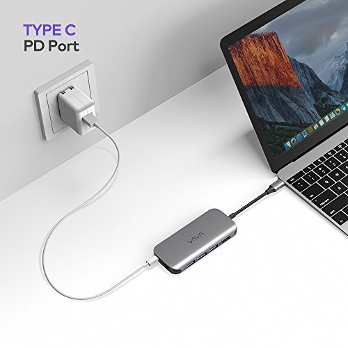 VAVA USB C Hub 8-in-1 Adapter with PD Power Delivery, 1Gbps Ethernet Port, SD Card Reader, 4K USB C to HDMI, 3 USB 3.0 Ports for MacBook Pro and Type C Windows Laptops by VAVA (Image #6)
