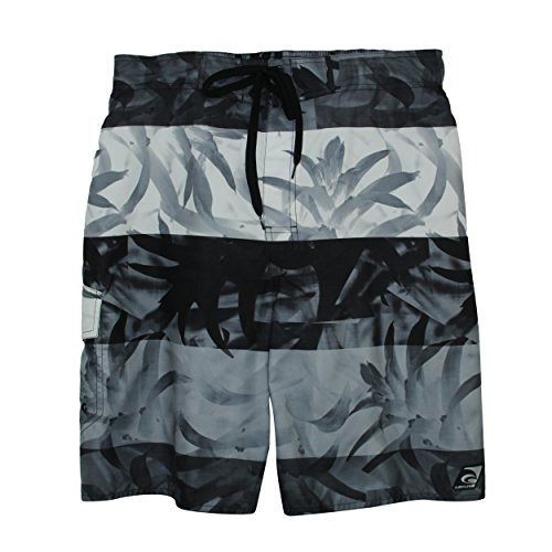 Laguna Mens ALA Moana Floral Pattern E-Boardshorts With Lace Drawcord In Gray, Size - Ala Moana Shops