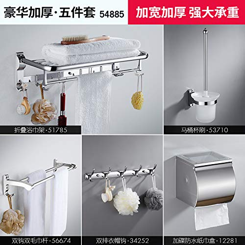 (Hlluya Bathroom Accessory Set Towel Rack Stainless Steel Towel Rack Bathroom Racks Bathroom Toilet kit,54885 Deluxe Thick 5 Piece Set)