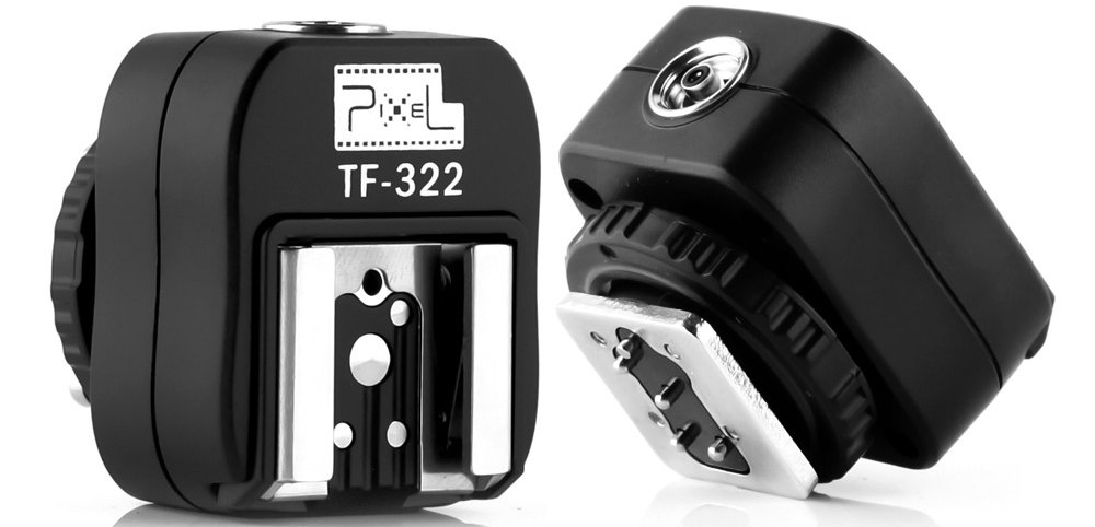 Pixel TF-322 Flash Hot Shoe Sync Adapter with Extra PC Sync Port Dedicated for Nikon DSLR & Flashgun by Pixel