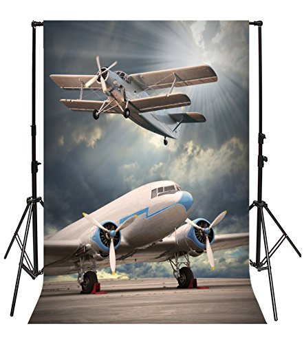 Yeele 3x5ft Airport Airplane Photo Backdrops Vinyl Biplane Aircraft Taking Off Flying Home Photography Background Adult Baby Portrait Photo Booth Video Wallpaper Shoot Props