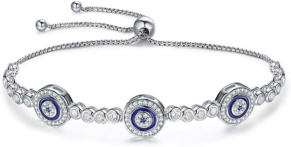 Pulsera de plata de ley 925 con cadena de ojo malvado, estilo turco, circonita cúbica brillante para mujeres y niñas