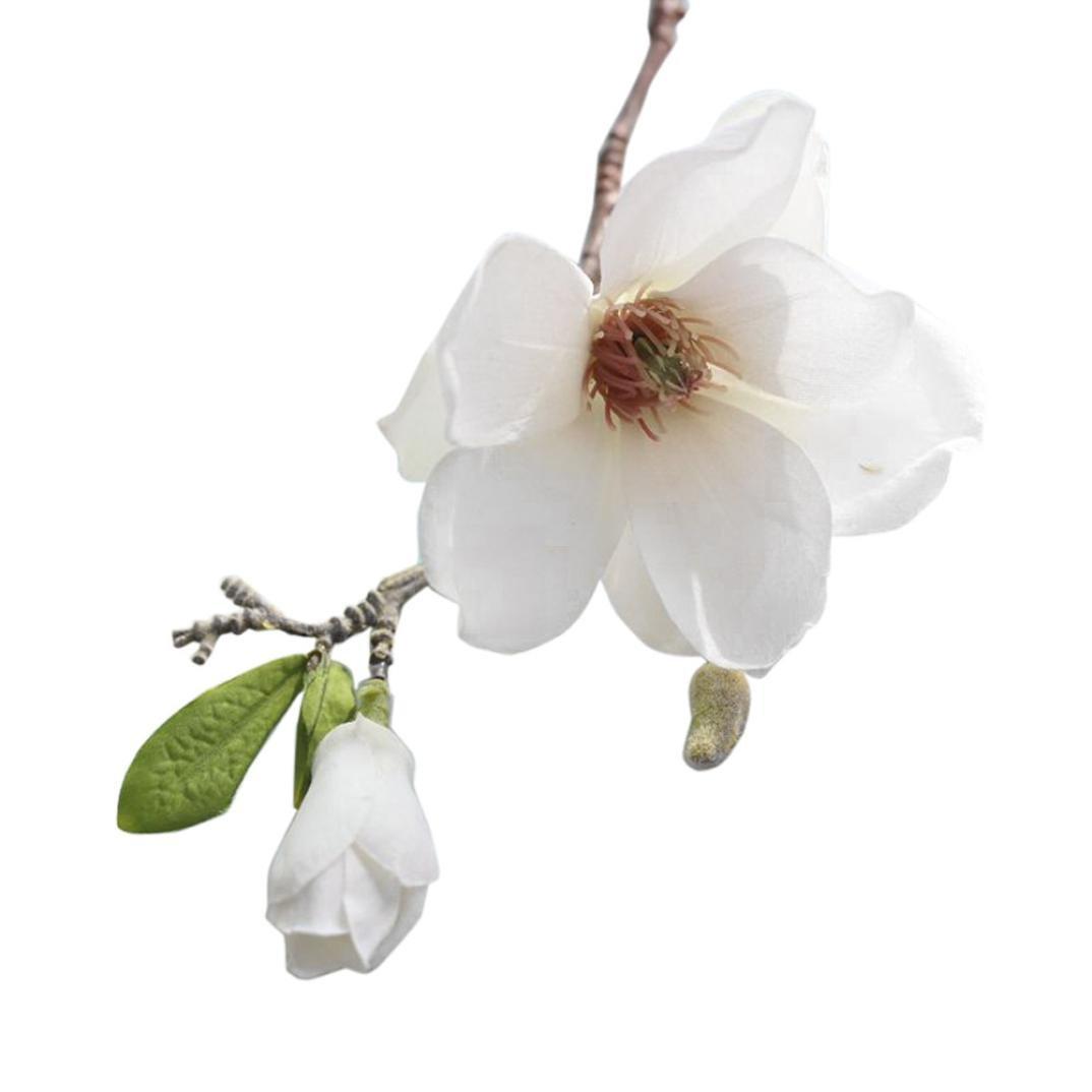 Rameng- Magnolia Artificiel, Fleur Artificielles Deco Mariage Faux Plante Plastique (A)
