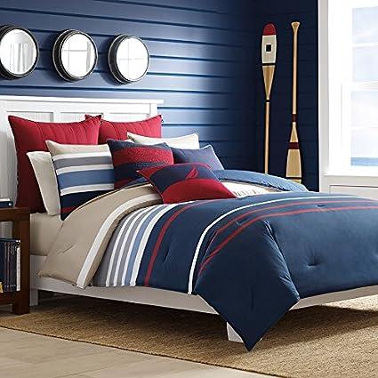 Amazon.com: Nautica Bradford Reversible Comforter Set, Full/Queen ...