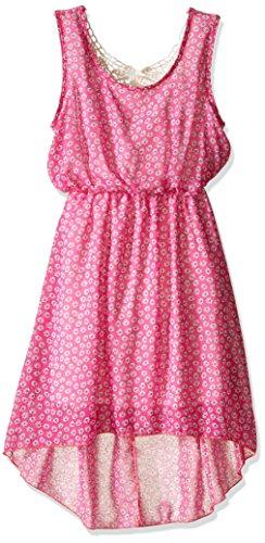 BTween Big Girls' Printed Hi Low Hem Chiffon Dress with Crochet Back Piece, Fuchsia Daisy, (Girls Hi Low Dress)