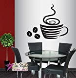 coffee bar wall decal - Wall Vinyl Decal Home Decor Art Sticker Stylish Coffee Cup Hot Coffee Beans Kitchen Café Coffee Shop Bar Bakery Room Removable Stylish Mural Unique Design