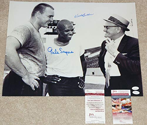 (DICK BUTKUS & GALE SAYERS Signed CHICAGO BEARS 16x20 photo + COA W443043 - JSA Certified - Autographed NFL Photos)
