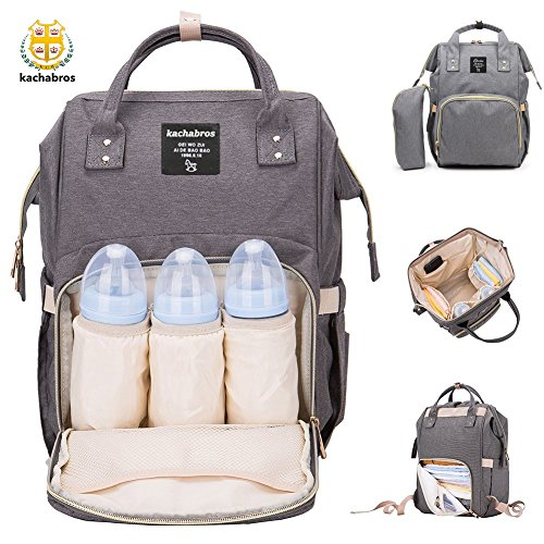 Diaper Bag Multi-Function Waterproof Travel Backpack with Insulated Bottle Pocket Nappy Bags for Baby Care Large Capacity Stylish and Durable Mom Bag by Kachabros(Grey)