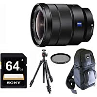 Sony Vario-Tessar 16-35mm OSS Lens with Compact Light Tripod & SLR Backpack Bundle