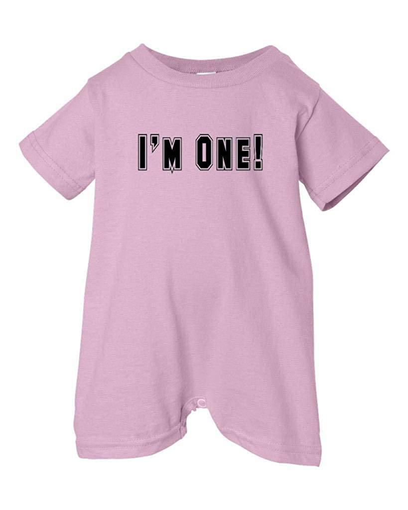 T-Shirt Romper Black Block Letters Festive Threads Unisex Baby Birthday Im One Pink, 18 Months
