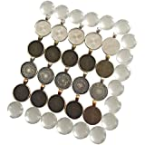 N'joy 20 Sets Circle Pendant Tray with Round Clear Glass Tiles Dome Shape for Photo Charm or ...