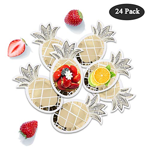 O-Heart 24 Pack Christmas Pineapple Paper Plates Disposable Gold Foil Pineapple Plates Tableware Set for Hawaiian Luau Wedding Party Supplies