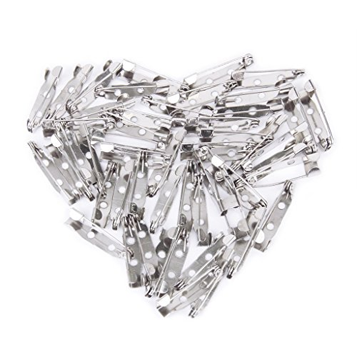 Iron Brooch Findings - VT BigHome 50 pcs/lot Brooch Back Bar Pins Findings Jewelry Making Handmade DIY Gifts for Women Men White K Tone Iron Metal 20mm