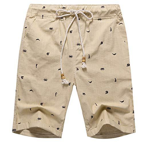 Men's Linen Casual Classic Fit Short (Khaki Crab, ()