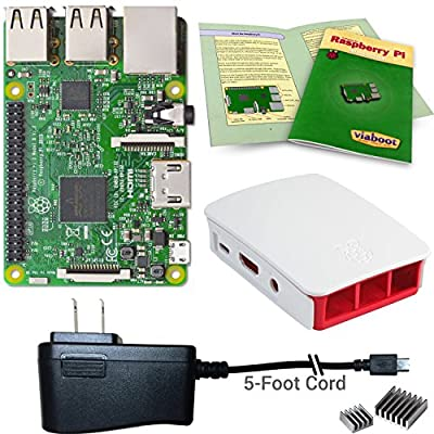 Viaboot Raspberry Pi 3 Power Kit - UL Listed 2.5A Power Supply, Official Red/White Case Edition from Viaboot