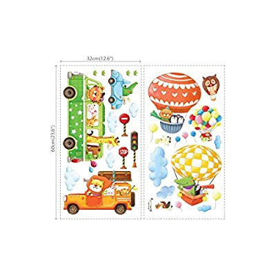 DECOWALL DA-18062P14063 Animal Transports and Hot Air Balloons Kids Wall Stickers Wall Decals Peel and Stick Removable Wall Stickers for Kids Nursery Bedroom Living Room: Home & Kitchen