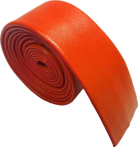 Leather 100 Orange Ties Skinny Genuine ax8q5P