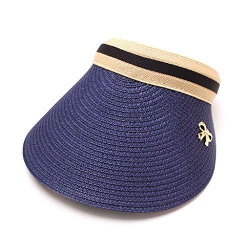 NEARTIME Baseball Sunshade Hat, Women Embroidered Flower Denim Cap Bow Hollow Straw Hat Summer Visor Beach Cap