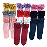 Toddler/Girls Ruffle Icing Boot Socks (Set of 5) Wine, Cream, black, grey & red,12m-6y
