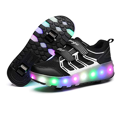 AIkuass Roller Shoes Boys Girls USB Charge LED Light Up Sneaker Kids Wheeled Skate Shoe (1 M US Little Kid, 3- Black- Double Wheels)