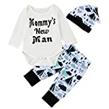 Sharemen Baby Boy Cute Letter Romper Tops+Cartoon Pants Hat Outfits SE (0-3 Months, White)