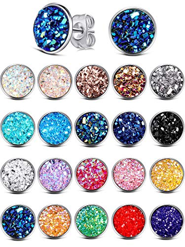 20 Pairs Round Stud Earrings Stainless Steel Druzy Studs Earrings Set Anti-sensitive Fits Women Girls (Silver-10mm)