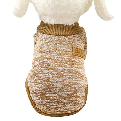 HCFKJ Pet Costume Pet Dog Puppy Classic Sweater Fleece Sweater Clothes Dog Vest Puppy Costume for Small Dog Cute Shirt Coat Apparel (S, Khaki)