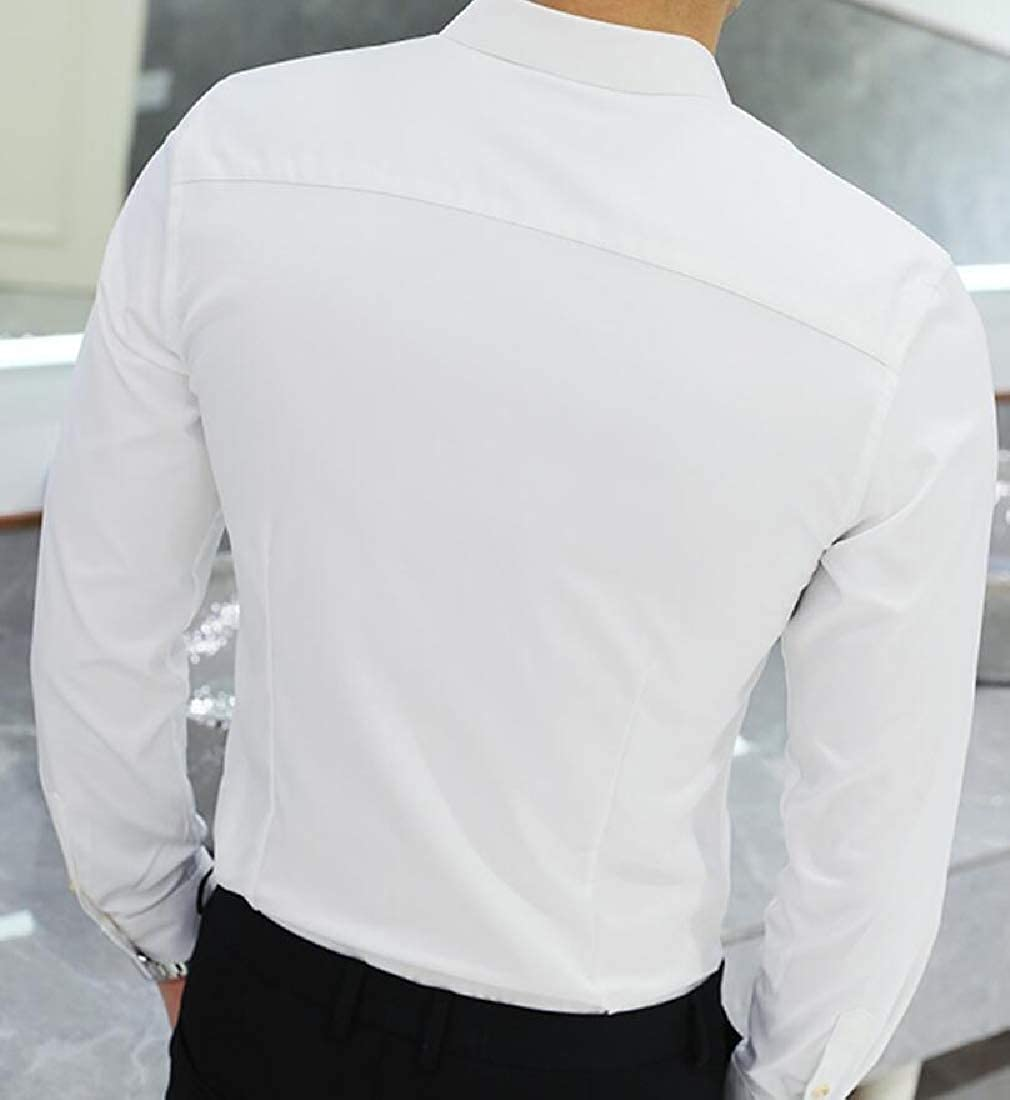 YYG Mens Solid Color Slim Nightclub Business Lapel Collar Long Sleeve Button Down Blouse Shirt