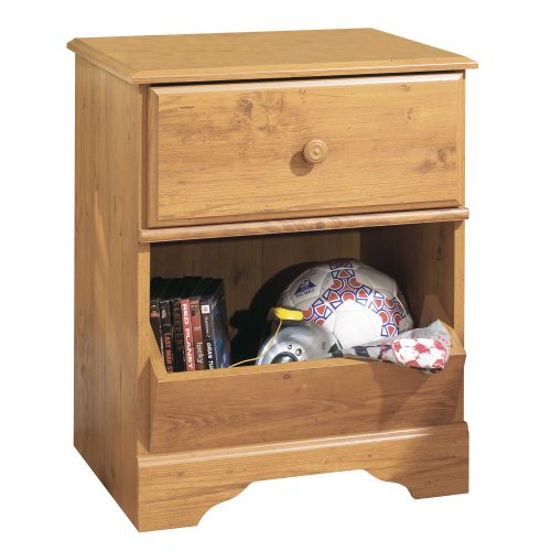 South Shore Little Treasures 1-Drawer Nightstand, Country Pine with Wooden Knob - 1 Table Drawer Bedside