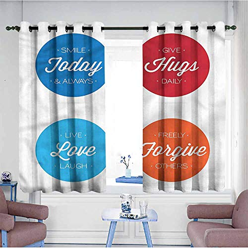 Mdxizc Thermal Curtains Quotes Positive Slogans on Life Durable W55 xL63 Suitable for Bedroom,Living,Room,Study, etc.