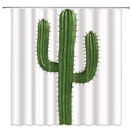 AMNYSF Green Cactus Decor White Shower Curtain Tropical Plants Spiked Cactus70x70 Inches Waterproof Polyester