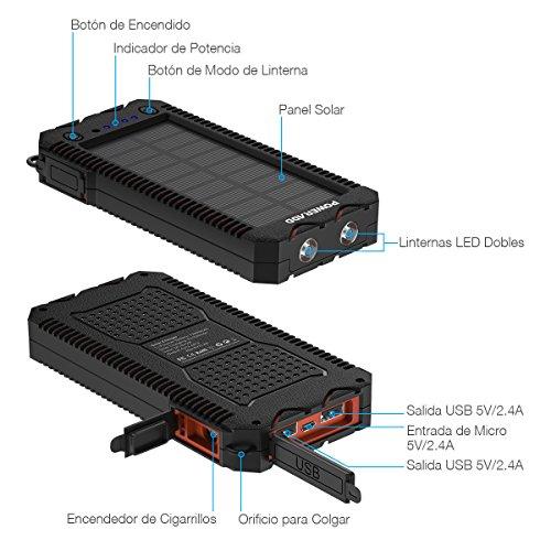 POWERADD Cargador Solar Portátil con 12000mAh, Batería Externa 2 Puertos de USB Panel Solar con Alta Eficiencia de Conversión Impermeable...