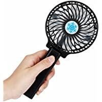 Mini Handheld Fan, Inkach Portable Rechargeable Fan Air Cooler Operated Hand Held Fan with USB 18650 Battery Power (Black)