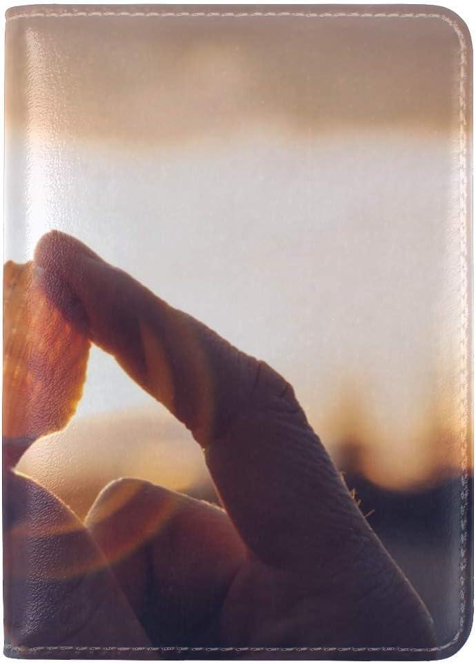 JiaoL Shell Hands Sunlight Leather Passport Holder Cover Case Travel One Pocket